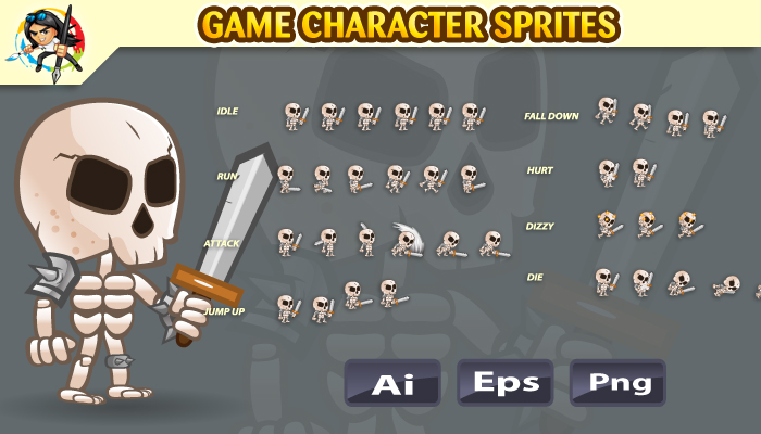 Skeleton 2D Game Character Sprites 03
