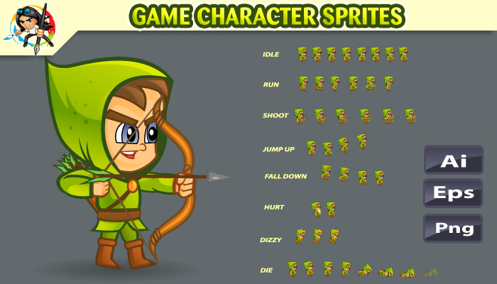 Archer Game Character Sprites 01