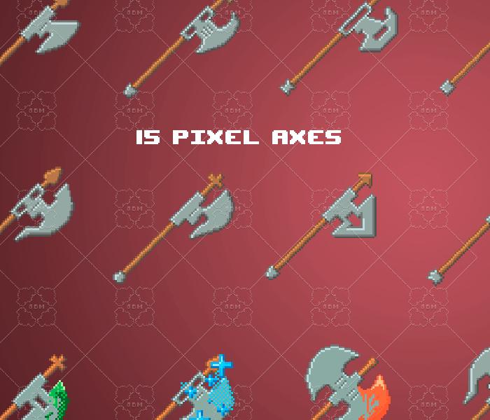 Pixel axes pack 64×64