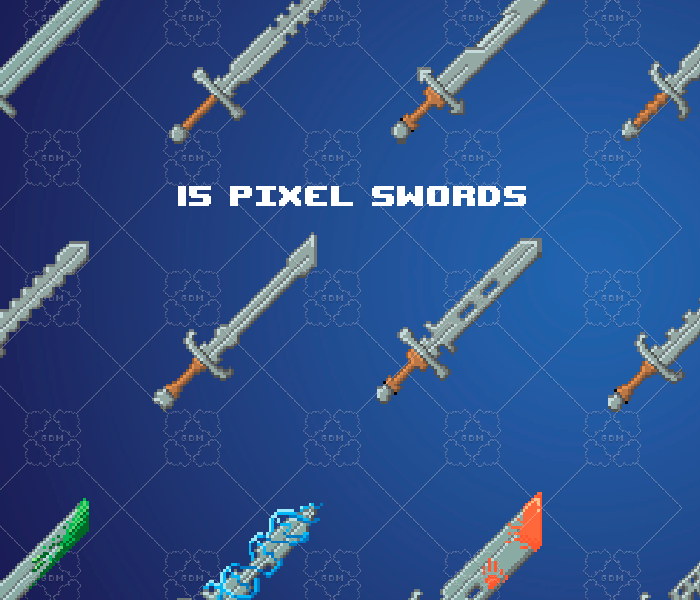 Pixel swords pack 64×64