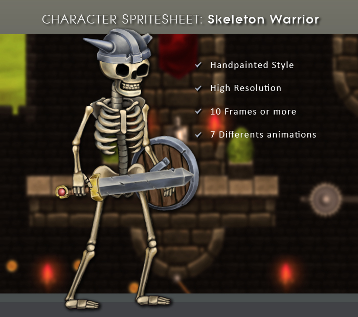 Character Spritesheet: Skeleton Warrior