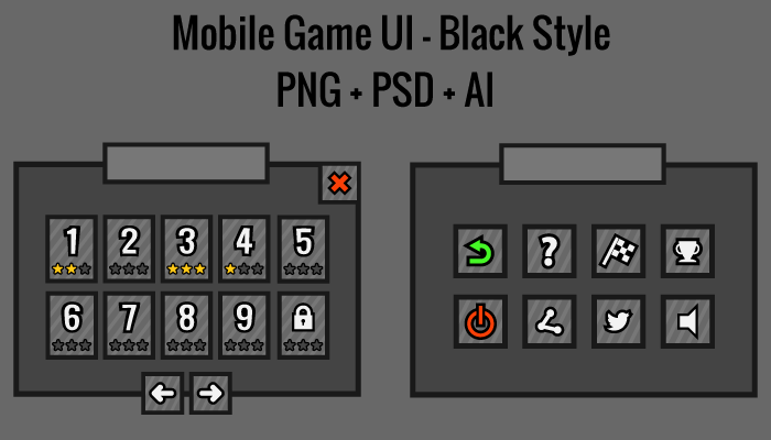 Mobile Game UI – Black Style