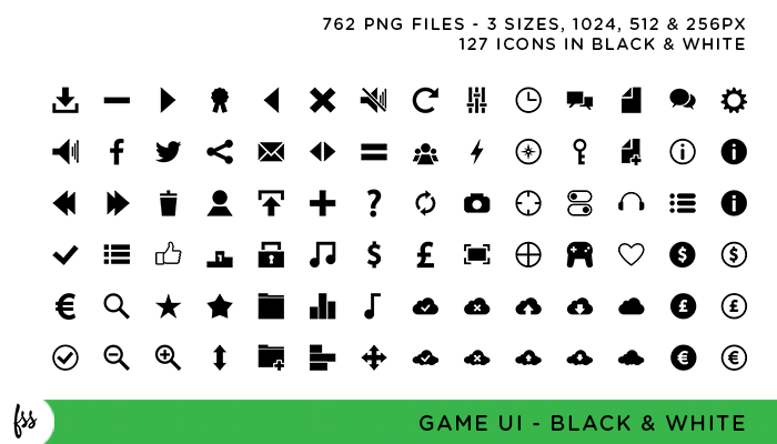 Game UI Pack – Black and White
