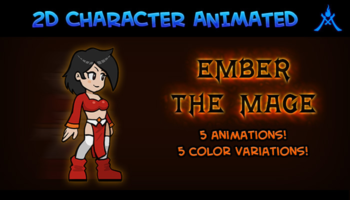 2D Character Ember the Mage