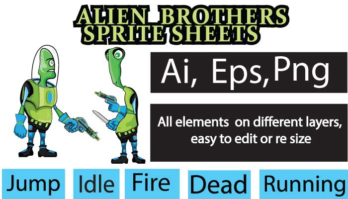 Alien Invaders Sprite Sheet