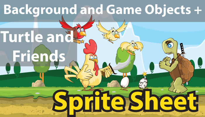 Animals Sprite Sheet and One background with multiple possibilities!