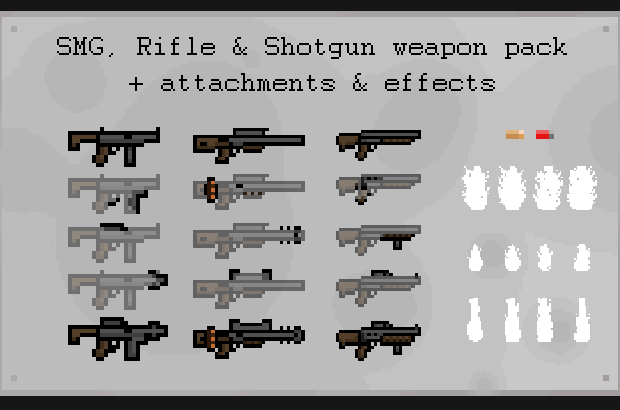 Weapon pack with effects and attachments