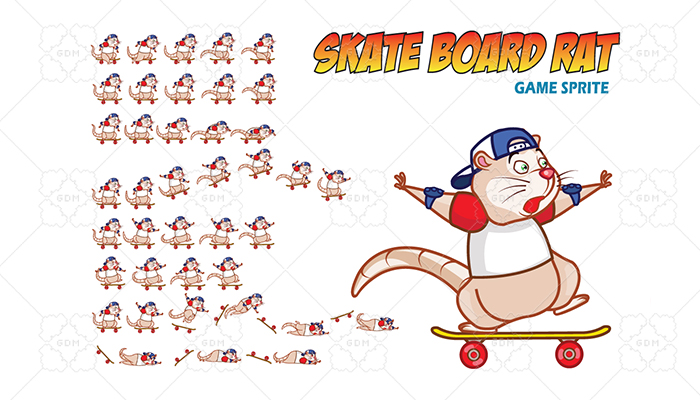Skate Board Rat Game Sprite