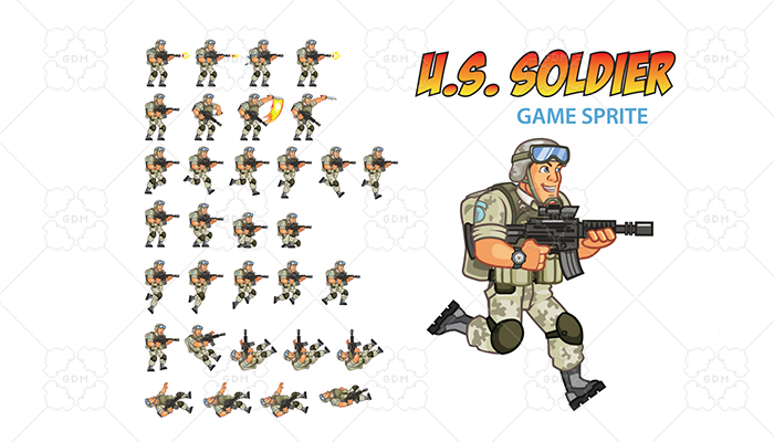 US Soldier Game Sprite