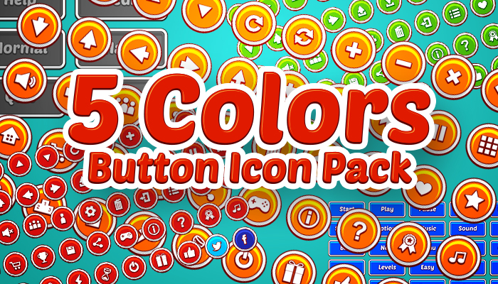 5 Colors Button Icon Pack
