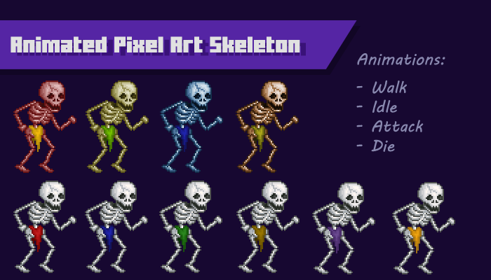 Animated Pixel Art Skeleton