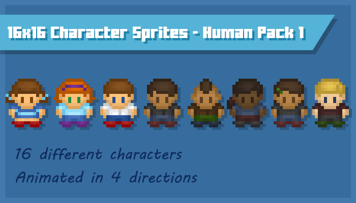 16×16 Character Sprites – Human Pack 1