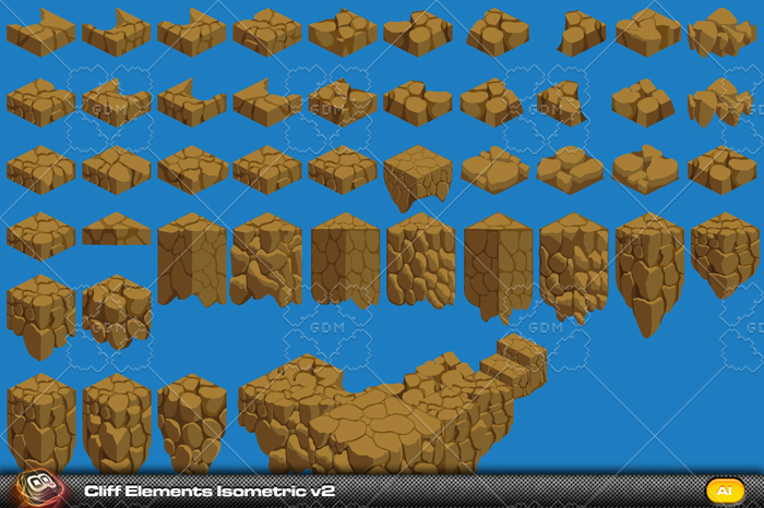 Cliff Isometic Tile Elements v2