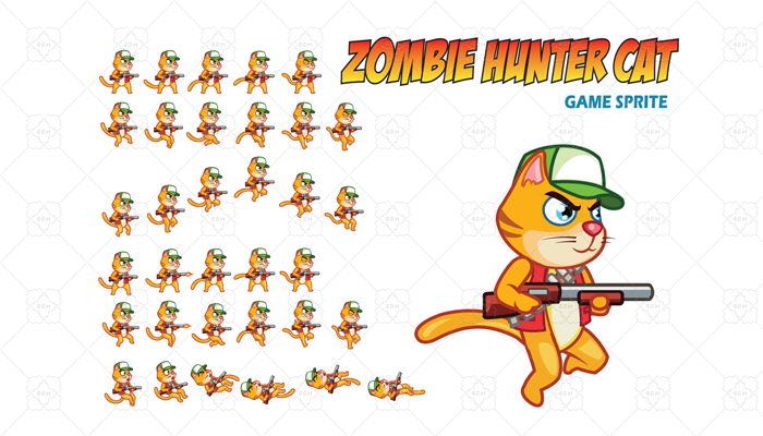Zombie Hunter Cat Game Sprite