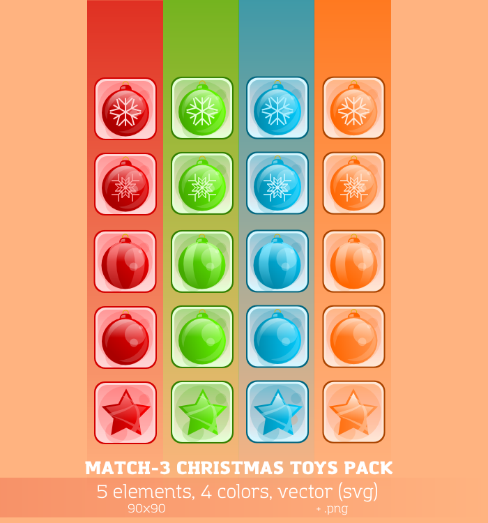 Match-3 Christmas Toys Pack