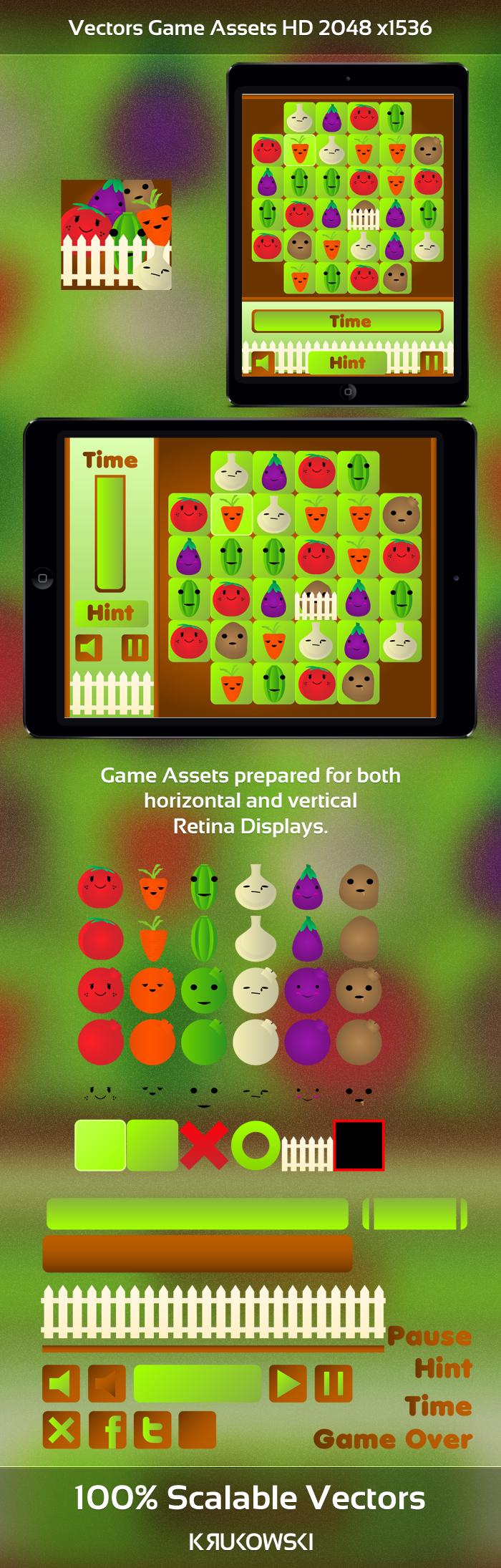 Vegetables Match 3 Game Kit