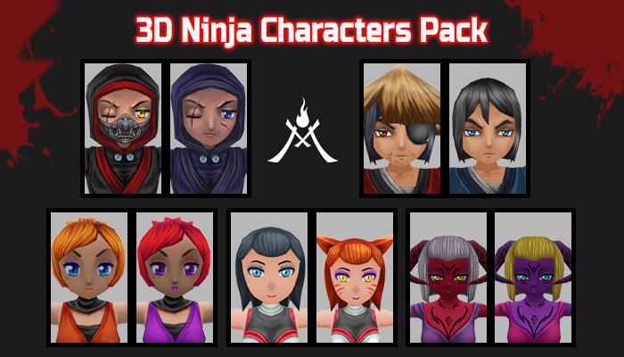 3D Ninja characters Pack