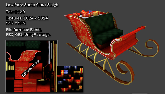 Low Poly: Santa Claus Sleigh