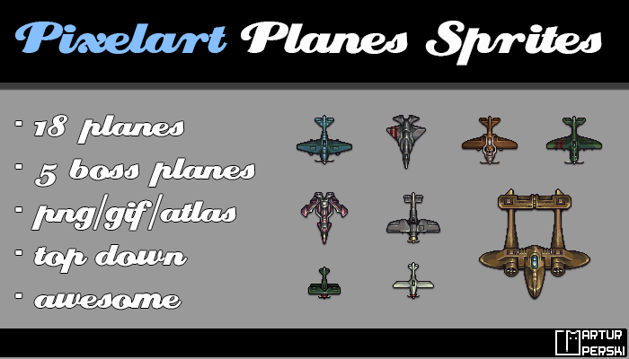 Pixel art airplanes sprites