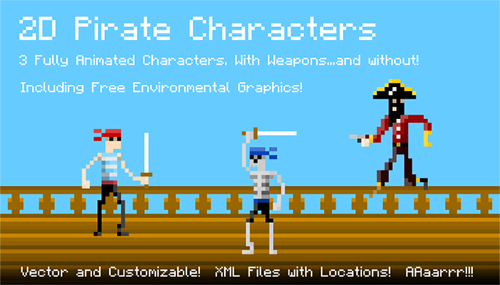 2D Fully Animated Pixel Pirate Characters