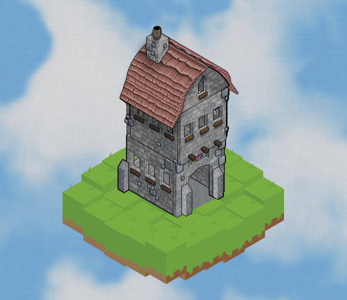 destructible fantasy isometric house