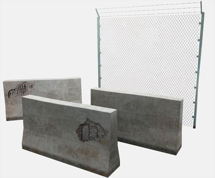 Concrete Barriers and Fence