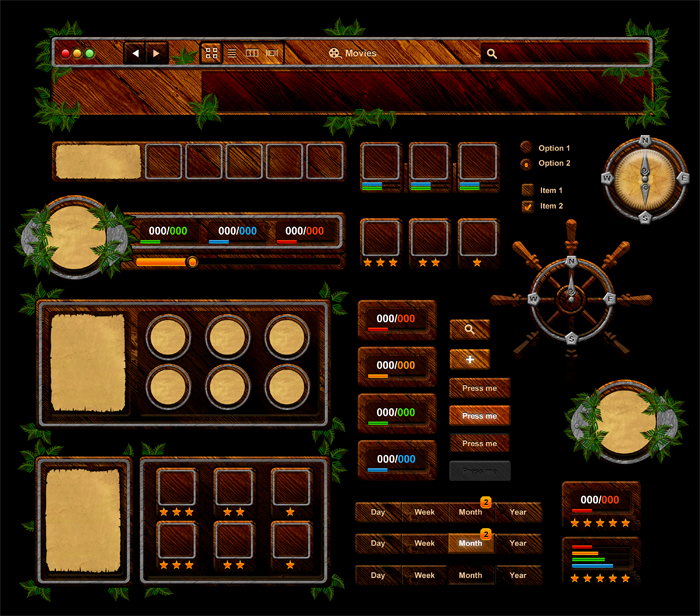 Wooden Game UI