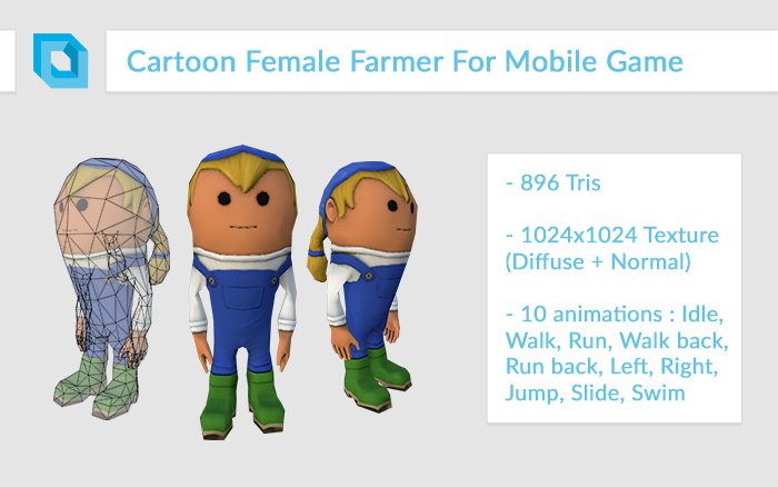 Super-Deformed Cartoon Female Farmer