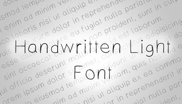 Handwritten Light Font