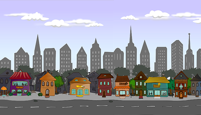 Cartoony city and backgrounds