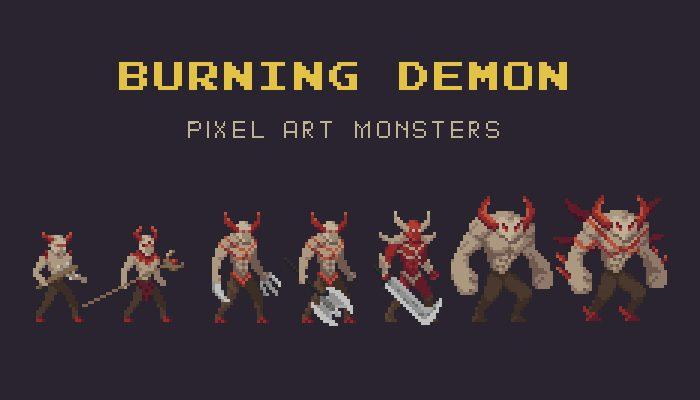 Burning Demon Pixel Art Monster Asset