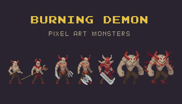 Burning Demon Pixel Art Monster Asset