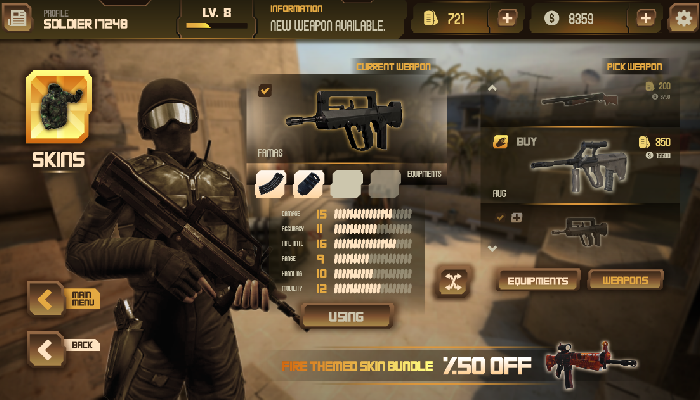 Mobile FPS Game GUI – Buttons and Icons