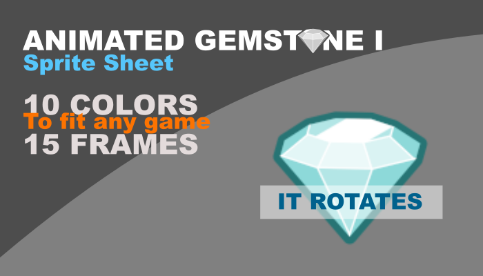 2d gemstone with animation and 10 different colors