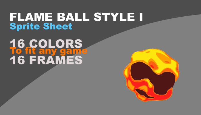 Flame Ball style I with animation and 16 colors