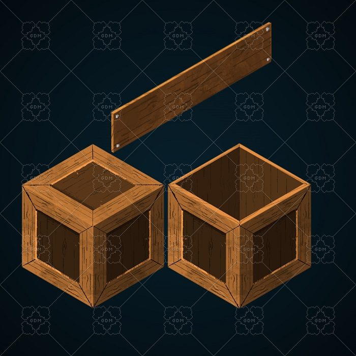Wooden objects in isometric view.