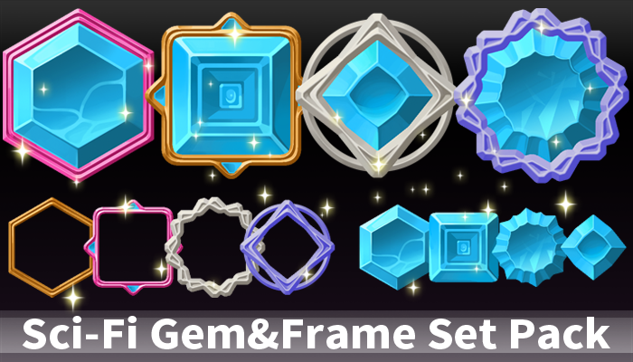 Sci-Fi Gem&Frame Set Pack