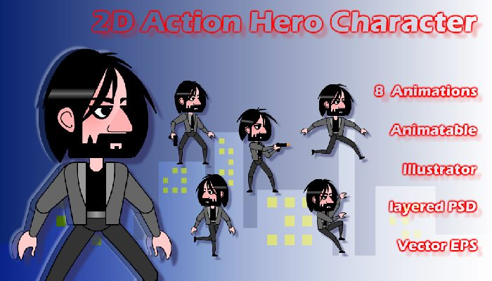 2d Action Hero Character