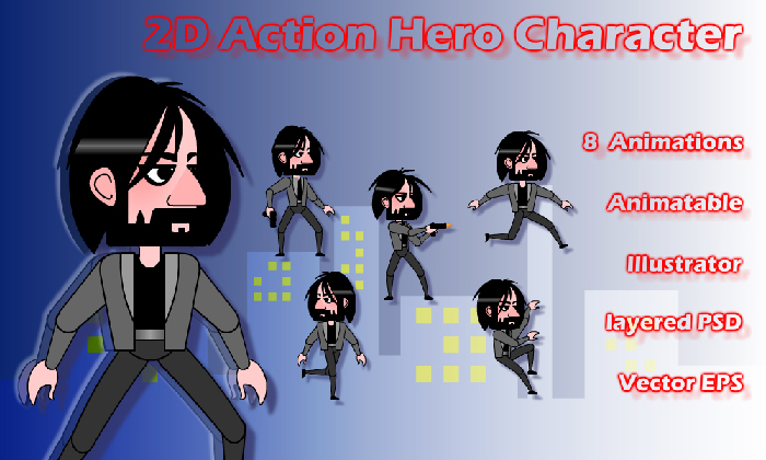 2d Action Hero Character