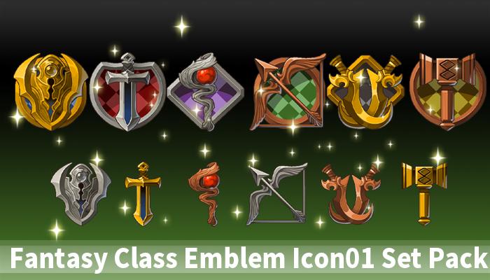 Fantasy Class Emblem Icon01 Set Pack