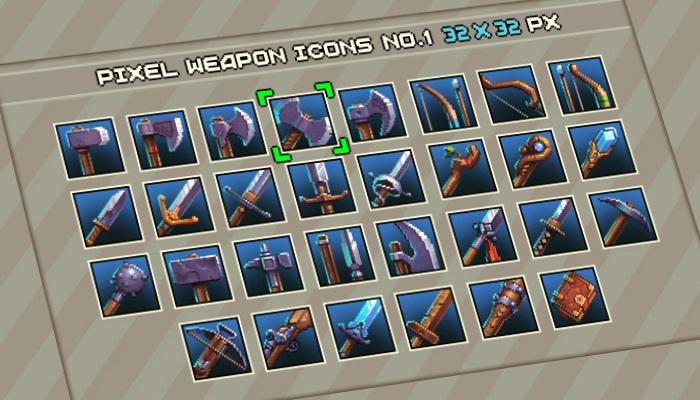 Pixel Weapon Icons #1 32×32
