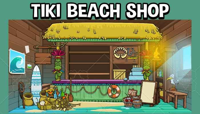 Tiki beach shop game asset pack