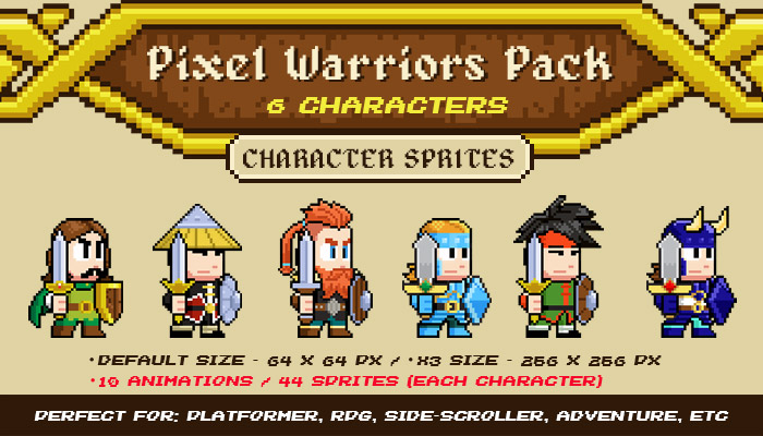 Pixel Warriors – 6 Characters Pack