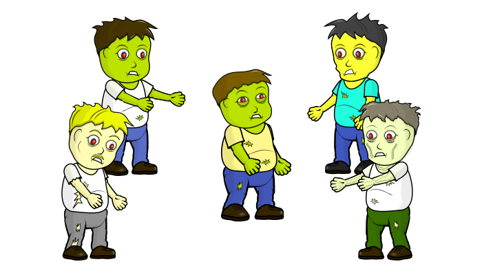 2D Zombie Pack (5 zombies with 7 animations each)
