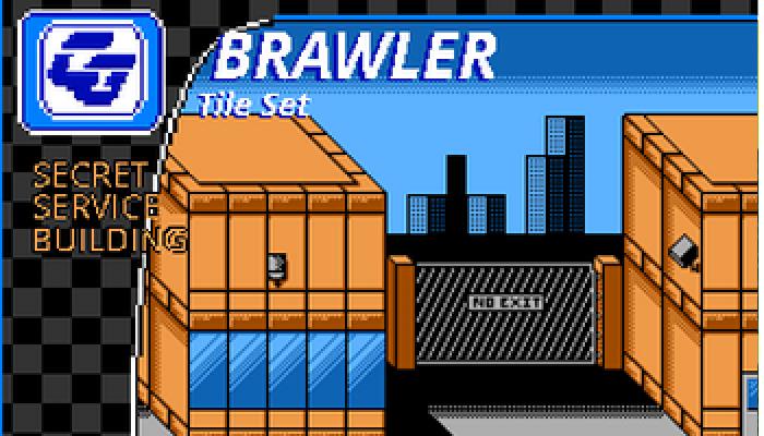BRAWLER Tile Set Secret Service Building NES