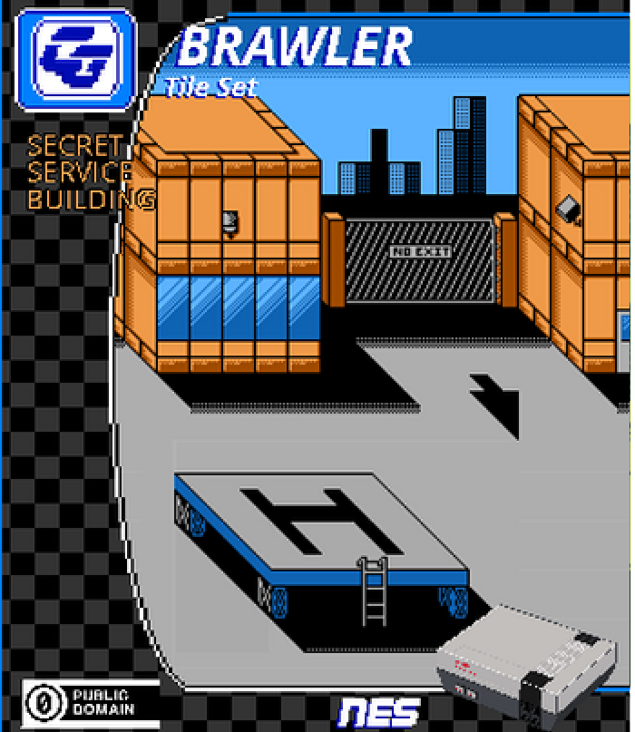 BRAWLER Tile Set Secret Service Building NES