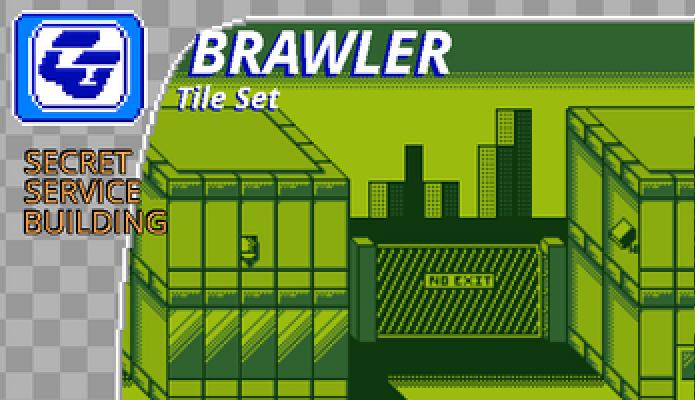 BRAWLER Tile Set Secret Service Building Gameboy
