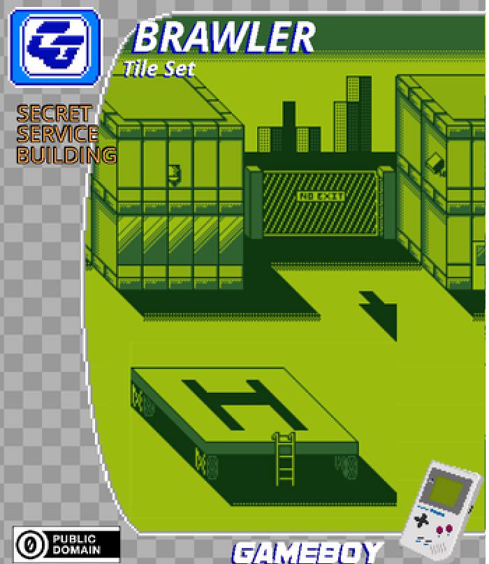 BRAWLER Tile Set Secret Service Building Gameboy