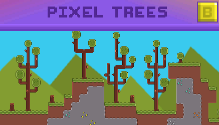 Pixel Acadia Tree 16×16 Tile set