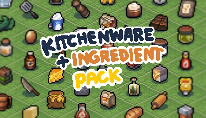 16X16 Pixel Kitchenware+Ingredients Pack